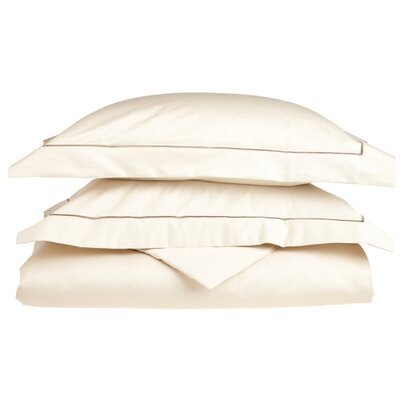 100% Cotton 3 Piece Duvet Cover Set Size: King / California King, Color: Ivory-Ivory
