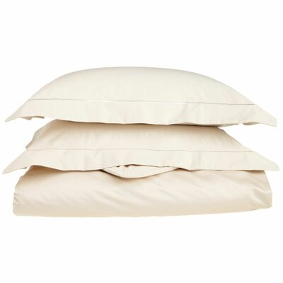 100% Cotton 3 Piece Duvet Cover Set Color: Ivory-Taupe, Size: Full / Queen