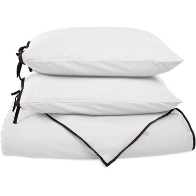 Bahama Reversible Duvet Cover Set Color: White with Black Trim, Size: Twin