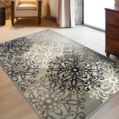 Abernathy Blue/Ivory Area Rug Rug Size: Rectangle 2'x3'