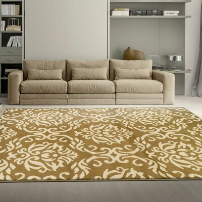 Macias Fleur De Lis Gold Area Rug Rug Size: Rectangle 4 x 6