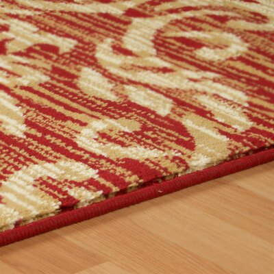 Macias Fleur De Lis Red/Beige Area Rug Rug Size: Rectangle 4 x 6