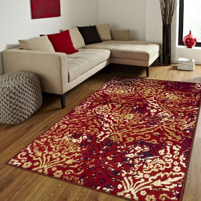 Goshen Red Area Rug Rug Size: Rectangle 5 x 8