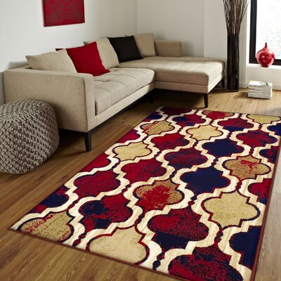 Colena Red/Blue Area Rug Rug Size: 5 x 8