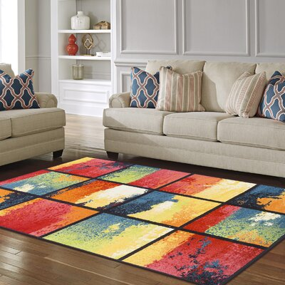 Vaughn Painted Cubes Red/Blue Area Rug Rug Size: 5 x 8