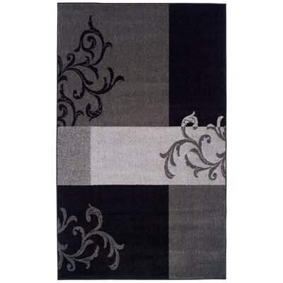 Elegant Scroll Black Area Rug Rug Size: 4 x 6