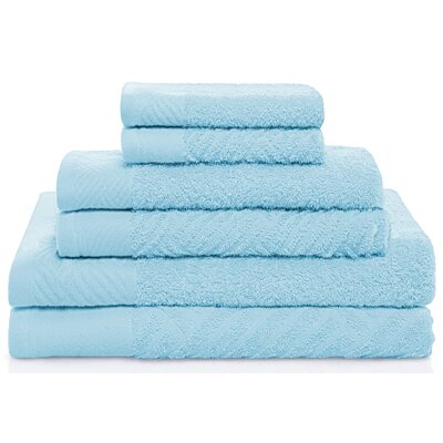 6 Piece Towel Set Color: Sky Blue