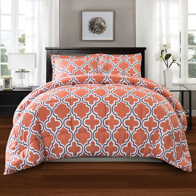 Elkton Polyester Comforter Set Color: Coral, Size: Twin/Twin XL