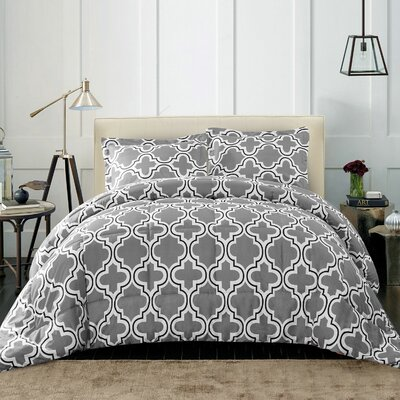 Elkton Polyester Comforter Set Color: Gray, Size: Full/Double/Queen
