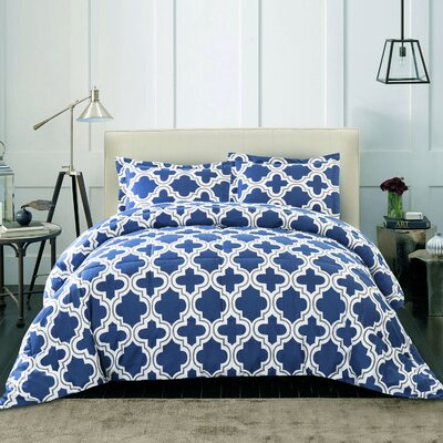 Elkton Polyester Comforter Set Color: Navy Blue, Size: King/California King