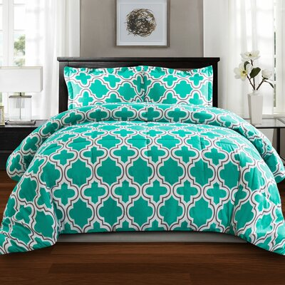 Elkton Polyester Comforter Set Color: Teal, Size: Twin/Twin XL