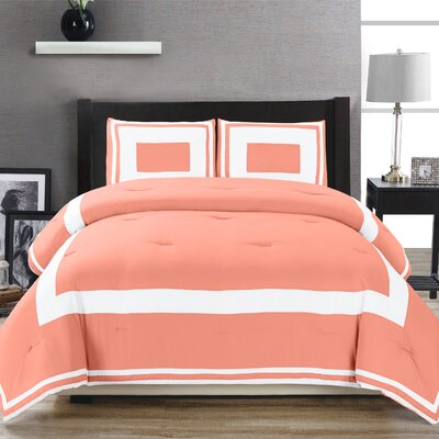 Eason Down Alternative Block Pattern Comforter Set Size: King/California King, Color: Coral