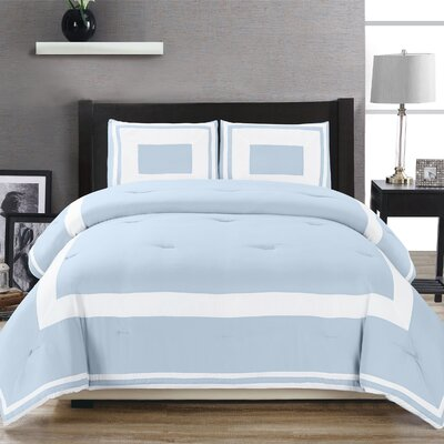 Eason Down Alternative Block Pattern Comforter Set Size: Twin/Twin XL, Color: Light Blue