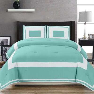 Eason Down Alternative Block Pattern Comforter Set Size: Full/Queen, Color: Teal