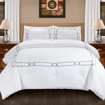 Drayton Down Alternative Elegant Comforter Set Color: Gray, Size: Full/Queen