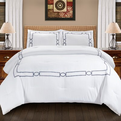 Drayton Down Alternative Elegant Comforter Set Color: Navy Blue, Size: King/California King