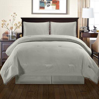 Sedgwick Fringe Down Alternative Comforter Set Size: Full/Queen, Color: Gray