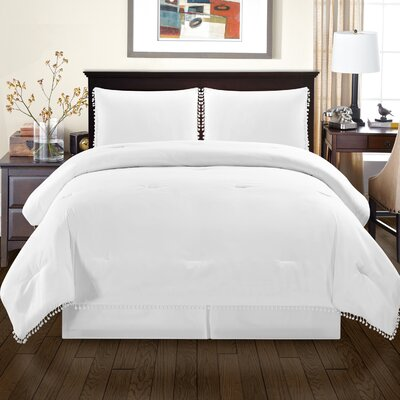 Sedgwick Fringe Down Alternative Comforter Set Size: King/California King, Color: White