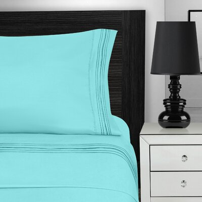 Nilsson 3 Piece Microfiber Sheet Set Color: Aqua, Size: California King