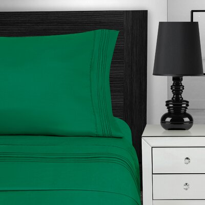 Nilsson 3 Piece Microfiber Sheet Set Color: Emerald, Size: California King