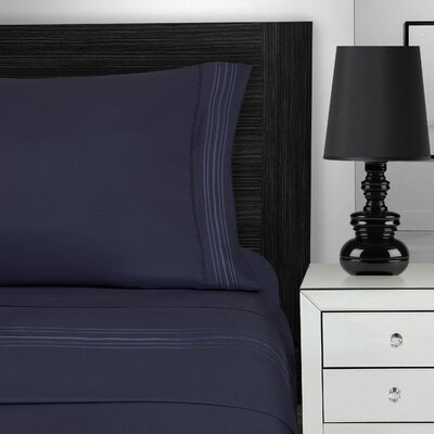 Nilsson 3 Piece Microfiber Sheet Set Color: Navy Blue, Size: Queen