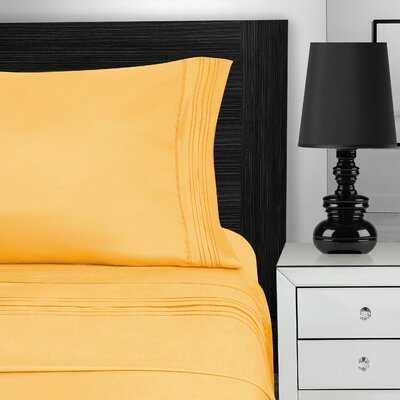 Nilsson 3 Piece Microfiber Sheet Set Color: Yellow, Size: King