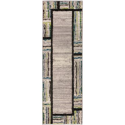 Verville Gem Border Gray Area Rug Rug Size: Runner 27 x 8