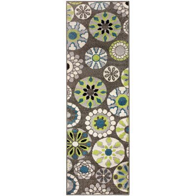 Darchelle Medallion Gray Area Rug Rug Size: 2.6 x 8