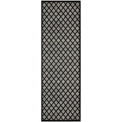 Cindi Gray/Black Area Rug Rug Size: Runner 27 x 8