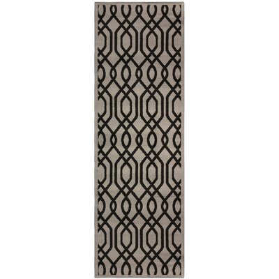 Bellucci Black/Gray Area Rug Rug Size: Runner 27 x 8