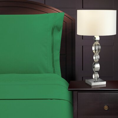 Bruch Embroidered Microfiber Sheet Set Size: King, Color: Emerald