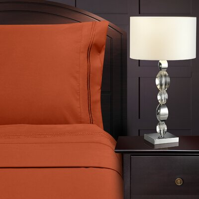 Bruch Embroidered Microfiber Sheet Set Size: King, Color: Rust