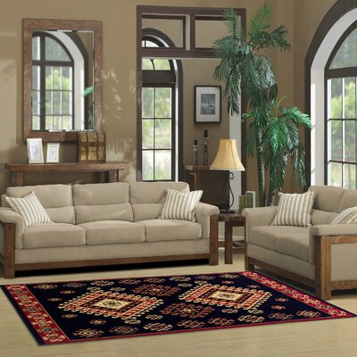 Garside Black Area Rug Rug Size: Rectangle 4 x 6