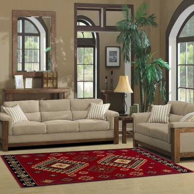 Garside Red Area Rug Rug Size: Rectangle 5 x 8
