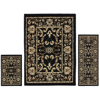 Dodington 3 Piece Rectangle Black Area Rug Set