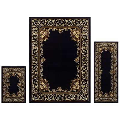Valarie 3 Piece Black Area Rug Set