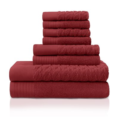 8 Piece Towel Set Color: Maroon