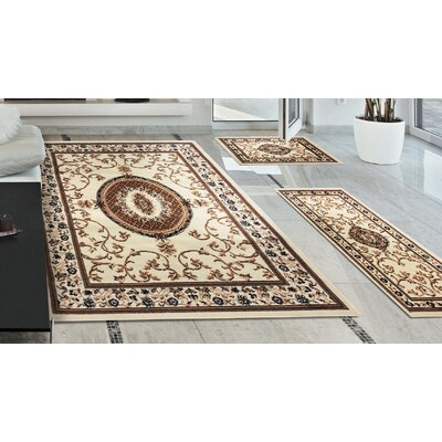 Dodington 3 Piece Rectangle Ivory Area Rug Set