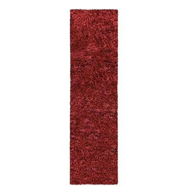 Blaisdell Shag Hand Woven Burgundy Area Rug Rug Size: Runner 27 x 8