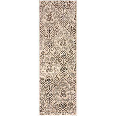 Callicoon Damask Oriental Beige Area Rug Rug Size: Runner 27 x 8