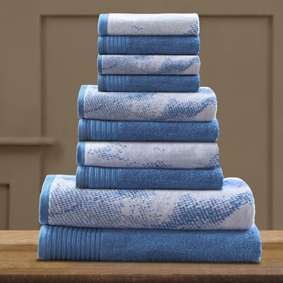 Pressman Cotton 10 Piece Towel Set Color: Blue