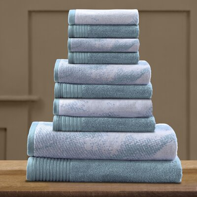 Pressman Cotton 10 Piece Towel Set Color: Cyan
