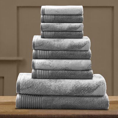 Pressman Cotton 10 Piece Towel Set Color: Gray