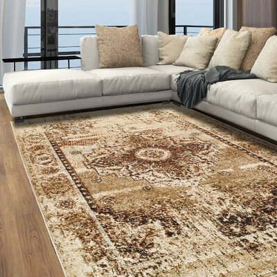 Golston Beige Area Rug Rug Size: Rectangle 5x8