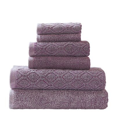 Laney Denim Wash 6 Piece Towel Set Color: Fig