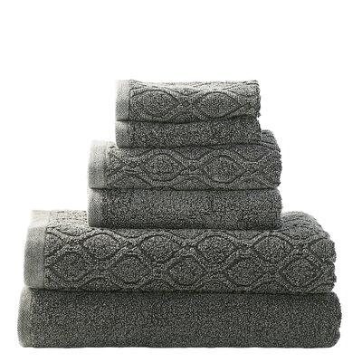 Laney Denim Wash 6 Piece Towel Set Color: Gray