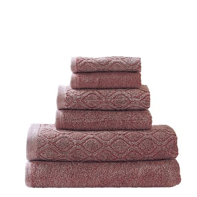 Laney Denim Wash 6 Piece Towel Set Color: Rumba Red