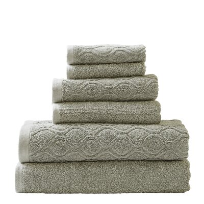 Laney Denim Wash 6 Piece Towel Set Color: Sage