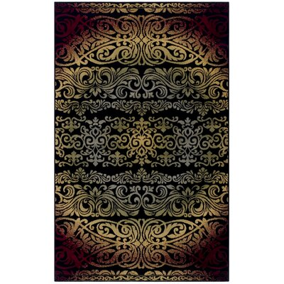 Holcomb Black/Red Area Rug Rug Size: Rectangle 4 x 6