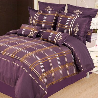 Impressions Madison 7 Piece Reversible Duvet Cover Set Size: Queen, Color: Purple